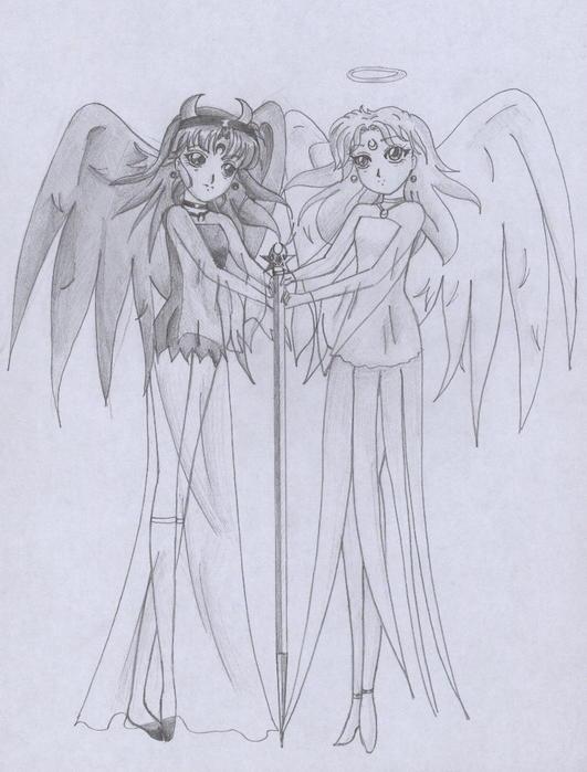 Рисунок ангел черно белый